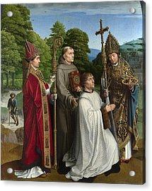 Canon Bernardijn Salviati And Three Saints Acrylic Print by Gerard David