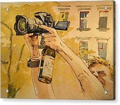 Canon Eos Street Acrylic Print by Juan  Bosco