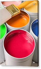 Cans Of Colored Paint Acrylic Print by Garry Gay