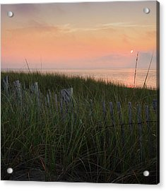 Cape Cod Bay Sunset Square Acrylic Print by Bill Wakeley
