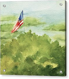 Cape Cod Beach With American Flag Painting Acrylic Print by Beverly Brown
