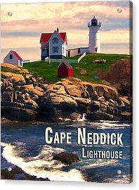 Cape Neddick Lighthouse  At Sunset  Acrylic Print by Elaine Plesser