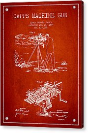 Capps Machine Gun Patent Drawing From 1899 - Red Acrylic Print by Aged Pixel