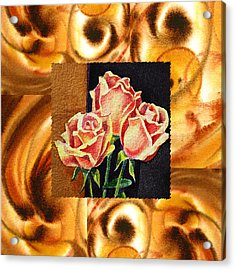 Cappuccino Abstract Collage French Roses Acrylic Print by Irina Sztukowski
