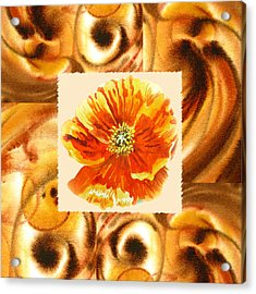 Cappuccino Abstract Collage Poppy Acrylic Print by Irina Sztukowski