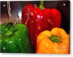 Capsicum In The Wash Acrylic Print by Kaye Menner