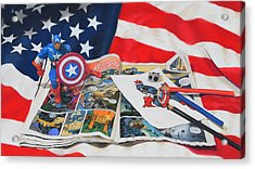 Captain America Acrylic Print by Joanne Grant