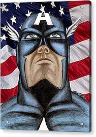 Captain America Acrylic Print by Michael Mestas