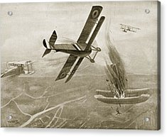 Captain Hawkers Aerial Battle Acrylic Print by W. Avis