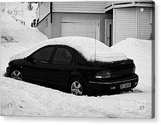 Car Buried In Snow Outside House In Honningsvag Norway Europe Acrylic Print by Joe Fox
