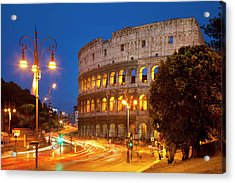 Car Light-trails In Front Of The Roman Acrylic Print by Brian Jannsen