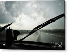 Car Windshield By Heavy Rains On Road Acrylic Print by Sami Sarkis