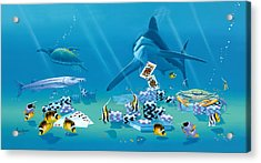 Card Shark Acrylic Print by Kenneth F Aunchman