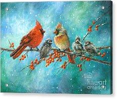 Cardinal Family Three Kids Acrylic Print by Vickie Wade