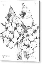 Cardinals And Dogwoods Acrylic Print by Jim Harris