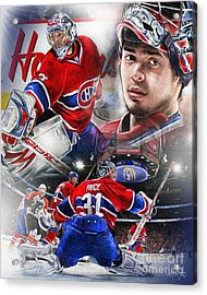 Carey Price Acrylic Print by Mike Oulton