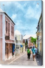 Caribbean - A Street In St. George's Bermuda Acrylic Print by Susan Savad