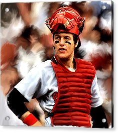 Fisk  Carlton Fisk Acrylic Print by Iconic Images Art Gallery David Pucciarelli