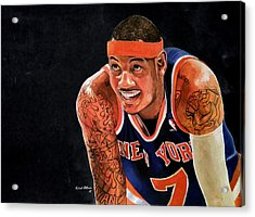 Carmelo Anthony - New York Knicks Acrylic Print by Michael  Pattison