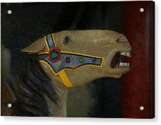Carousel Horse Painterly 2 Acrylic Print by Ernie Echols