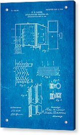 Carrier Air Conditioning Patent Art 1906 Blueprint Acrylic Print by Ian Monk