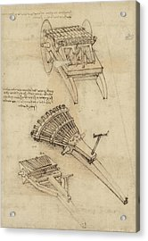 Cart And Weapons From Atlantic Codex Acrylic Print by Leonardo Da Vinci