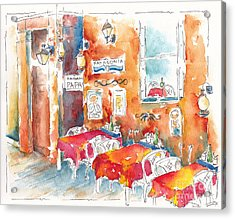 Cartagena Colombia Cafe Acrylic Print by Pat Katz