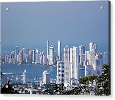 Cartagenha Columbia In A Distance Acrylic Print by Gena Weiser