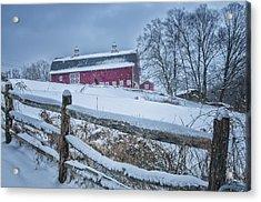 Carter Farm - Litchfield Hills Winter Scene Acrylic Print by Thomas Schoeller