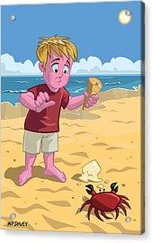 Cartoon Boy With Crab On Beach Acrylic Print by Martin Davey