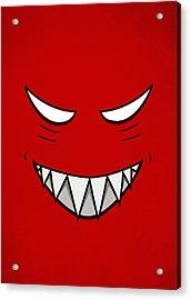 Cartoon Grinning Face With Evil Eyes Acrylic Print by Boriana Giormova