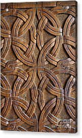 Carved Wooden Door In The Tsminda Sameba Cathedral Tbilisi Acrylic Print by Robert Preston