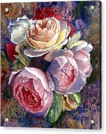 Caryn's Roses Acrylic Print by Janet King