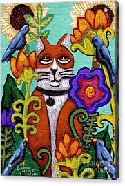 Cat And Four Birds Acrylic Print by Genevieve Esson