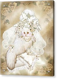 Fanciful Cat Acrylic Print featuring the mixed media Cat In Fancy Bridal Hat by Carol Cavalaris