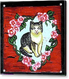 Cat In Heart Wreath 1 Acrylic Print by Genevieve Esson