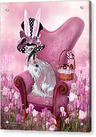 Cat In Mad Hatter Hat Acrylic Print by Carol Cavalaris
