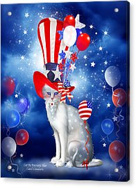 Fanciful Cat Acrylic Print featuring the mixed media Cat In Patriotic Hat by Carol Cavalaris