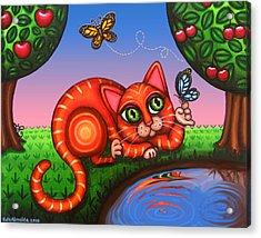 Cat In Reflection Acrylic Print by Victoria De Almeida