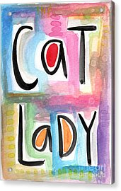 Cat Lady Acrylic Print by Linda Woods