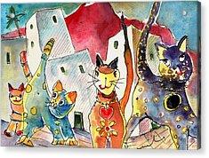 Cat Town In Lanzarote Acrylic Print by Miki De Goodaboom
