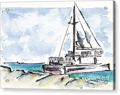 Catamaran On Fury Beach Acrylic Print by Pat Katz