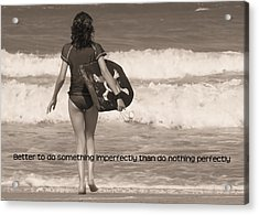 Catch A Wave Quote Acrylic Print by JAMART Photography