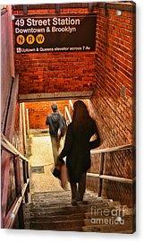 Catching The Subway Acrylic Print by Karol Livote