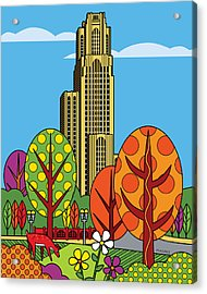 Cathedral Of Learning Acrylic Print by Ron Magnes