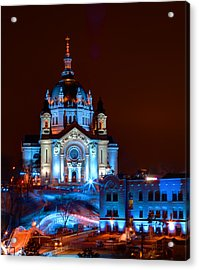 Cathedral Of St Paul All Dressed Up For Red Bull Crashed Ice Acrylic Print by Wayne Moran