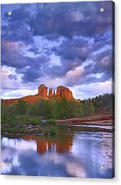 Cathedral Rock And Oak Creek At Red Acrylic Print by Tim Fitzharris