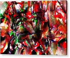 Caught In The Crowd Two Water Color And Pastels Wash Acrylic Print by Sir Josef Social Critic - ART