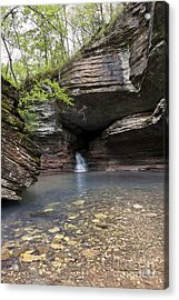 Cave Waterfall Along An Arkansas Trail Acrylic Print by Brandon Alms