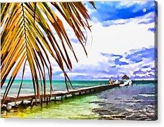 Caye Caulker Pier Acrylic Print by Lee Vanderwalker